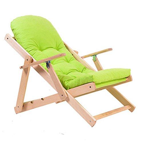 Chair Zhaizhen Chaise longue à bascule pliable et réglable avec fenêtre de balcon en bois massif pour cour extérieure (couleur : vert)