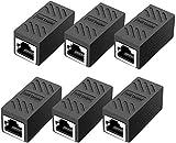 6 conectores de cable de red CAT6 blindado modular 6 x RJ45 hembra DSL LAN RJ45 negro (6 x RJ45 negro)