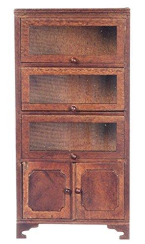 Maison de Poupées Meuble de Bureau Miniature Clerks Bibliothèque 3 Verre Portes
