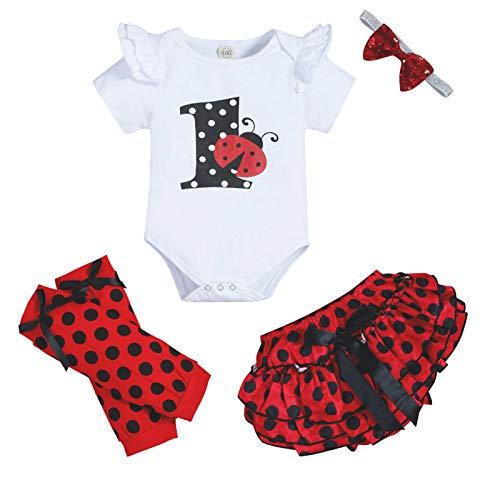Baby Girls First Birthday Cake Smash Toddler Girl Ladybug Romper Ruffle Short Pants with Headband Leg Warmers Outfit Set (Ladybug, 12-18 Months)