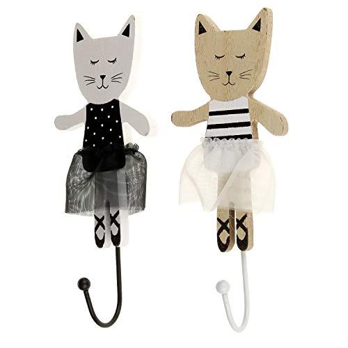 Macosa BZ1020830 Wandhaak kat met tule rok hout zwart wit gelakt decoratieve haak kinderkamer babykamer garderobehaak kledinghaak jashaak