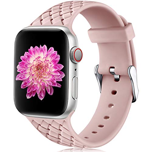 Oielai Compatible con Apple Watch Correa 38mm 40mm 42mm 44mm, Impermeable Suave Silicona Tejido Deportes Reemplazo Correas para Iwatch Serie 5 6 4 3 2 1 SE, Mujeres Hombres, Pequeña Rosa Arena