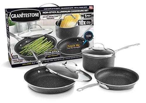 GRANITESTONE 5-Piece Nonstick Cookware Set, Scratch-Resistant, Granite-coated Anodized Aluminum, Dishwasher-Safe, PFOA-Free As Seen On TV