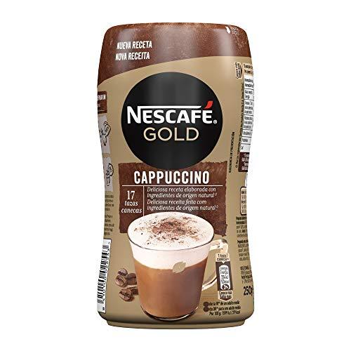 NESCAFÉ GOLD CAPPUCCINO NATURAL, cremoso café soluble con leche desnatada, Bote 250...