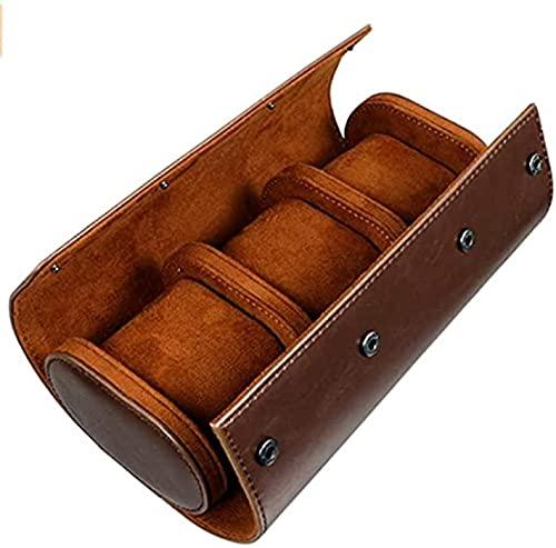 Boîte de rangement à 3 emplacements pour montres - Rétro - En cuir synthétique - Sac de voyage élastique - Organiseur de bijoux - Pour montres et accessoires