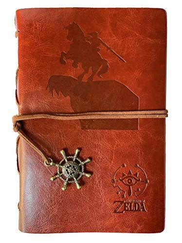 Feidiao Vintage Refillable Journal Diary papel de desenho solto, Breath of The Wild Legend of Zelda Sheikah Slate Couro PU Clássico em relevo diário de viagem caderno com pingentes retrô (marrom)