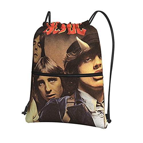 Ac-D-C - Bolsa de gimnasio con cordón con cremallera interior y bolsillo impermeable para hombres y mujeres, mochila deportiva ligera para la escuela y el gimnasio