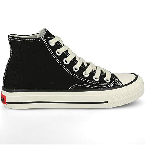 PAYMA - Zapatillas Bambas Botas de Lona Mujer. Puntera de Goma. Playeras de Deporte Casual y Caminar. Color: Negro Altas Piso Sencillo. Talla 37