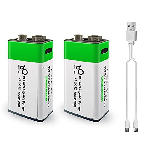 Batería de litio recargable de 9V 650mAh KKmoon Puerto tipo C Alta capacidad Voltaje constante Recarga rápida Utilidad ecológica Batería reutilizable para micrófono Guitarra