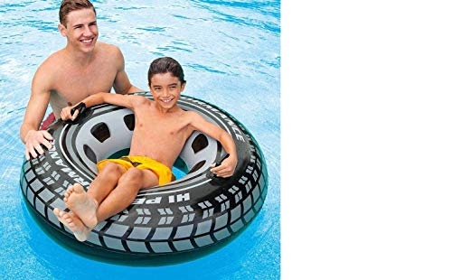 Witzige lustige Luftmatratze Schwimmreifen Schwimmring XL Autoreifen Monster Truck LKW Reifen mit Griffen 114 cm für Wasser Strand Party Wasserspielzeug Sommerspielzeug Kinder Erwachsene