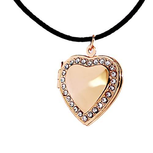 Sharplace Forever Love Friend Family Crystal Heart Photo Frame Collana con Medaglione - Dorato