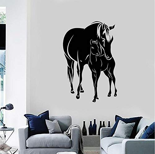 GVFTG Paarden Veulen Dieren Familie Vinyl Muursticker Huisdecoratie Woonkamer Art Mural Wallpaper 57X86cm