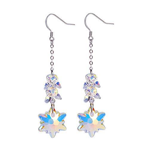 LOVEMLQL Edelweiss Ohrringe S925 Sterling Silber Ohrringe ÖSterreichischen Kristall Ohrringe Damen Fransen Ohrringe Handgewebt