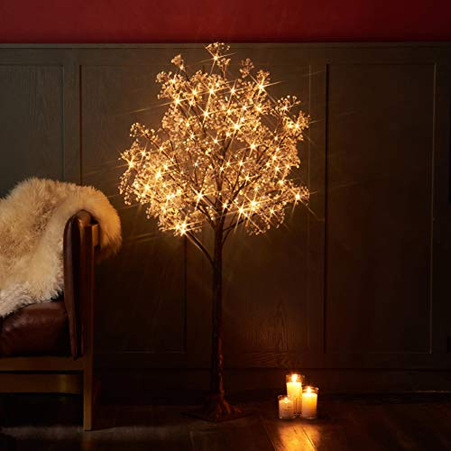 Hairui Lighted Gypsophila Tree 4FT 90 LED Artificial Baby Breath Flowers with Lights for Wedding Party Holiday Decoration