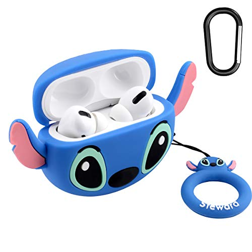 AirPods Pro Case Soft Silicone Shockproof Cover for Apple Airpods Pro, New 3D Cute Cartoon Creative Fun Case Skin with Keychain Design for AirPods Pro Charging Case 2019 (Stitch)