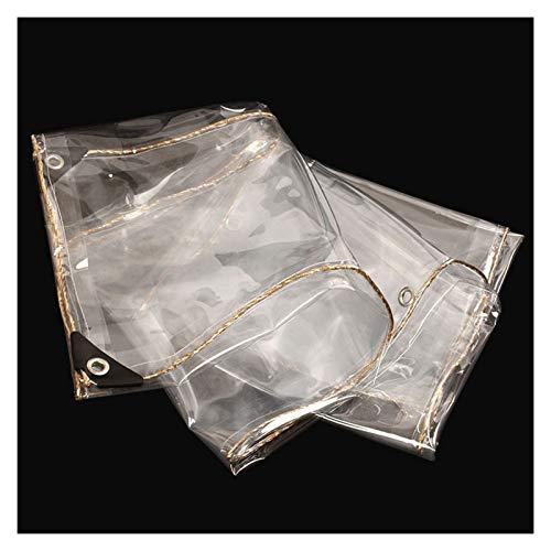 pujindu Lona Alquitranada Transparente Impermeable, PVC Plastico Funda Cubierta Toldo con Ojales y Reforzado Bordes Universal Protección, 0,35mm Grueso, 450g /m² (Color : Claro, Size : 3x6m)
