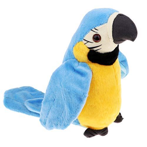 Perfeclan Plüsch Papagei Spielzeug Sprechender Plüsch-Papagei mit Mikrofon, spricht nach und läuft, 22 cm - Blau