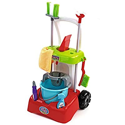 Play Brainy Kids Cleaning Cart Set Toy for Kids| Deluxe Cleaner Trolley Playset Includes Mop, Bucket, Dustpan | Exciting Pretend Play Toys for Boys & Girls by Goods And More Corp