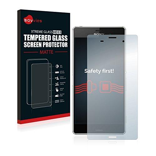 savvies Protector Cristal Mate Compatible con Sony Xperia Z3 - Dureza 9H,...