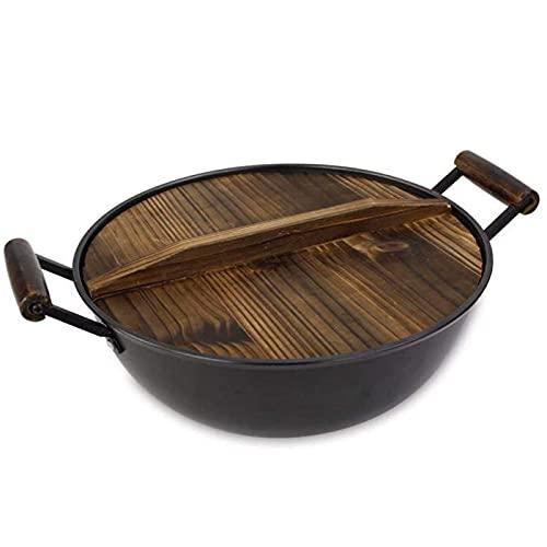 Sartén de hierro fundido Wok de hierro fundido resistente sartén antiadherente sartén china espesamiento Wok abeto cubierta de acero inoxidable olla grande 32 cm Wok