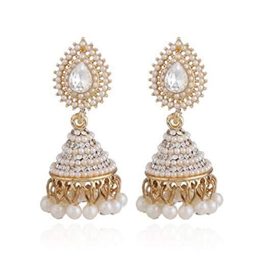 Moonqing - Pendientes de perlas de imitación con forma de farol, estilo...