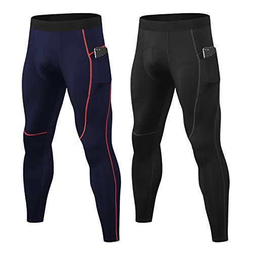 LANBAOSI Paquete de 2 mallas de compresión para hombre, gimnasio, entrenamiento, correr, secado rápido, pantalones deportivos con bolsillos
