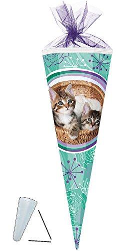alles-meine.de GmbH Schultüte -  Stubentiger / süße Katzen  - 50 cm - rund - mit Tüllabschluß - Zuckertüte - mit / ohne Kunststoff Spitze - für Mädchen - Katze / Kätzchen - Hau..