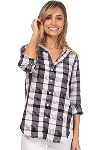 CAMIXA Women's Gingham Shirt Checkered Casual Long Sleeve Button Down Plaid Top