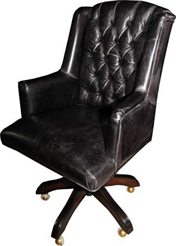 Casa Padrino Luxus Echtleder Chefsessel Büro Stuhl Schwarz Vintage Look Leder Drehstuhl Schreibtisch Stuhl - Chefbüro