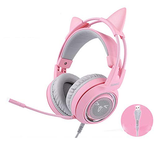 PXYUAN Casque PS4, Fille Mignonne Rose Cristal Oreilles de Chat Gaming Headset pour Xbox One, PC, Lumière LED Over-Ear Stereo Sound Casque Gaming avec Micro Bruit Annulation 7.1 Son Son