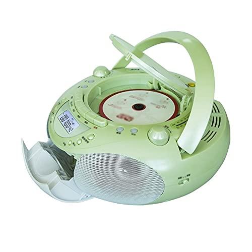 LHHH Lettore CD Portatile CD Player Boombox Portatile con Radio AM/FM, Jack per Cuffie, Replay CD/Dvd Tape Recording, Macchina per apprendimento Multifunzione MP3 / MP4 (Color : Green)