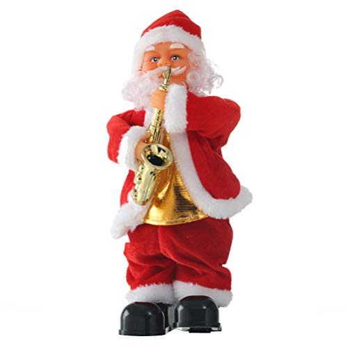 Toyvian Dancing Singing Santa Claus Christmas Toy Doll Battery Operated Musical Moving Figure Holiday Decoration (Saxophone)