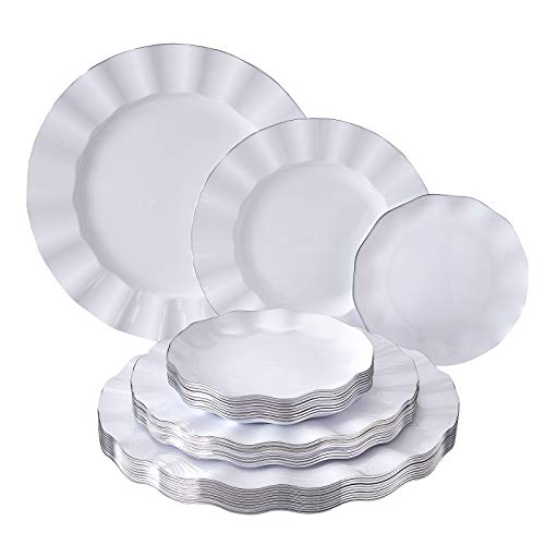 PARTY DISPOSABLE DINNERWARE SET | (Veil Collection - White) 30 PC