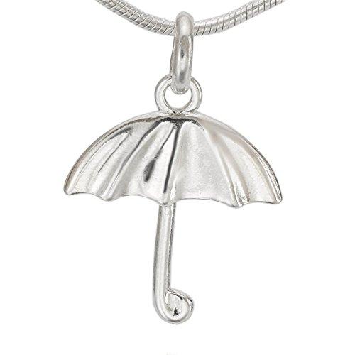 Sterlingsilber Anhänger Knirps Regenschirm Schirm Stockschirm Damen #a1250
