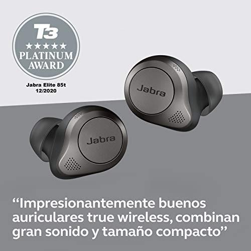 Jabra Elite 85t - Auriculares Inalámbricos True Wireless con cancelación activa de ruido avanzada, batería de larga duración y potentes altavoces, Estuche de carga inalámbrica, Negro titanio