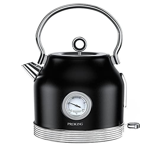Hervidor de agua de acero inoxidable retro con termómetro, 1,7 L, sin BPA, tetera con filtro de cal, apagado automático, protección para el secado de la cocina, hervidor de agua inalámbrico (negro)