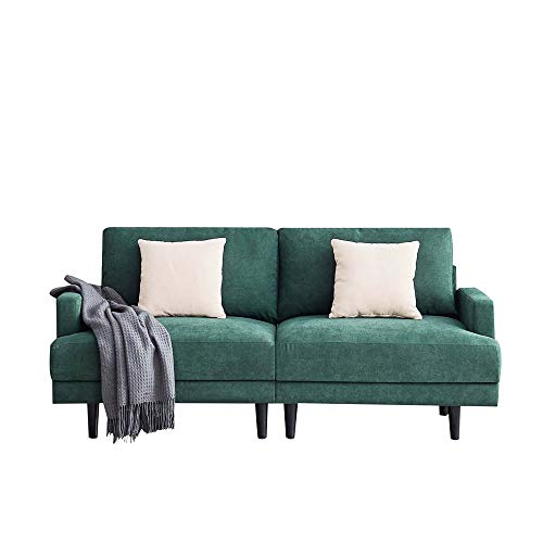 Moderno sofá para salón compacto, dormitorio, apartamento, salón, habitación, estudio, cojín reclinable con reposabrazos, patas de madera, 180 x 77 x 83 cm, esmeralda