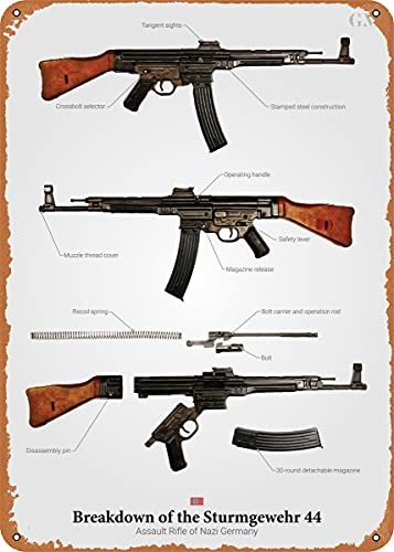 CharcasUS Breakdown of The STG 44 Metal Tin Sign Wall Decor Man Cave Military Fan Gift Home Bar Pub Decorative Military Posters 12x8 Inch