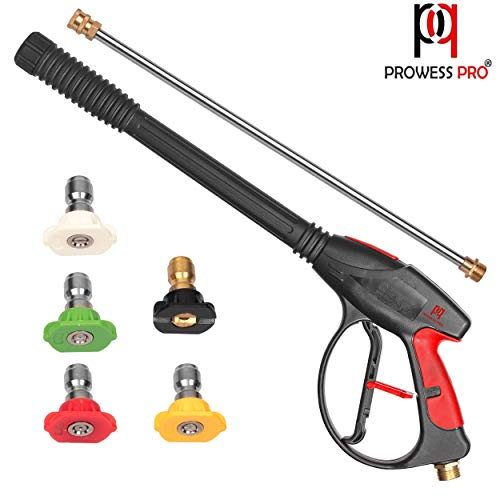PP PROWESS PRO High Pressure Washer Gun 4000 PSI M22 x 14mm Inlet Fitting with 21 Inch Extension Wand Lance & 5 Quick Connect Nozzles