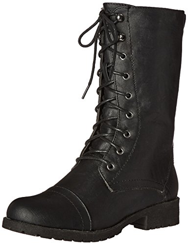Lug 11 Militärstiefel für Damen, Schnürschuh, Schwarz (Schwarz (Black Pu)), 40.5 EU