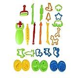 Odoukey 26pcs Masa De Arcilla De Barro Herramientas Herramientas De Conjuntos De Colores De Plastilina Moldes De Bricolaje Niños Playset Formas De Animales Aptos para Niños