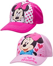Disney Girls 2 Pack Cotton Baseball Cap: Minnie Mouse, Fancy Nancy, Vamperina (Toddler/Little Girls), Size Age 4-7, Minnie Mouse Pink
