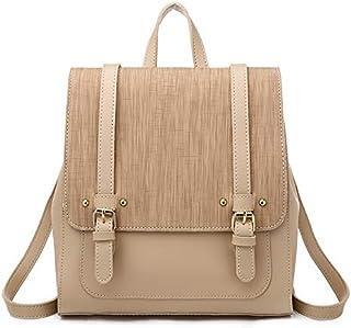 Shoulder Bag Female Backpack Female Fashion Retro Shoulder Bags Leisure Backpack (Color : Apricot)