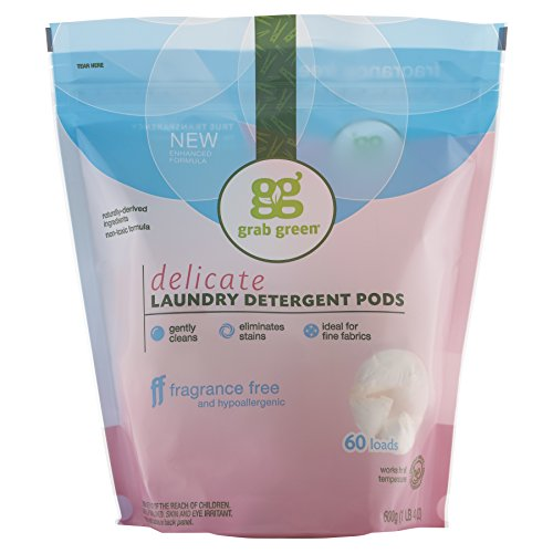 Grab Green Natural Delicate Wash Laundry Detergent Pods, Unscented/Free & Clear, 60 Loads, Fragrance Free, 600g (1lb 4Oz)