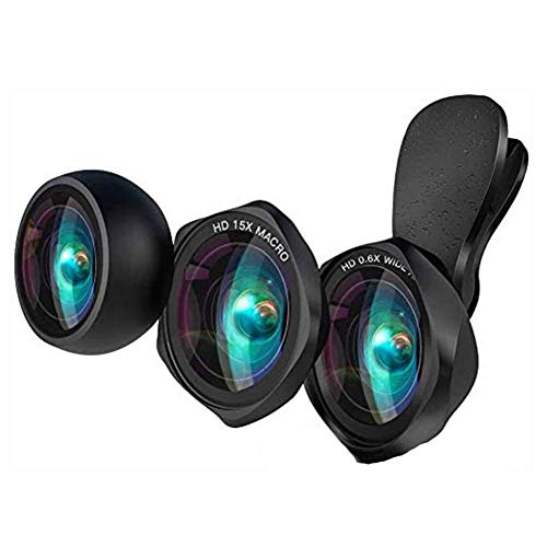 GUOXY Universal Hd Phone Camera Lens,3 in 1 Clip-On Cell Phone Camera Lens 0.6X Wide Angle Lens + 15X Macro Lens + 0.28X Fisheye Lens Binoculars