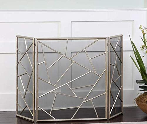 Buy Bargain Fireplace Cover Screen- Silver Broken Glass Style Beauty in Any Season- Maximum Coverage...
