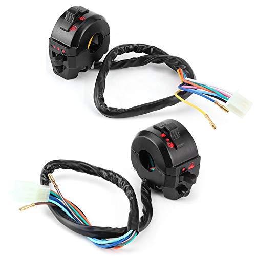 Aramox Interruptor de manillar de motocicleta Bocina de luz alta/baja Control de interruptor de manillar de señal de giro, Interruptor de manija modificado, lado izquierdo y derecho, negro