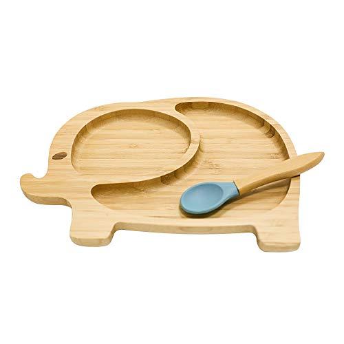 Cozy Vibe Piatto per bambini e neonati,Stile elefante, Piastra di alimentazione per neonati e bambini con anello di aspirazione Forte(blu)