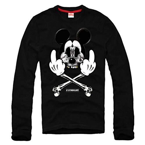 E1SYNDICATE Long Sleeved T-Shirt Mickey Bones Weed LSD MDMA GOA Rave Mouse Black Large