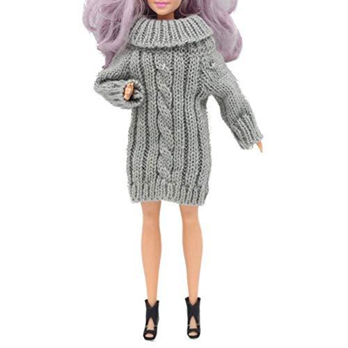 30cm Muñecas hechas a mano Suéter de punto de cuello alto puro Vestido Tops Traje de moda Accesorios de ropa Ropa informal diaria de invierno para muñeca Barbie Juguete de niña de 11.5 pulgadas